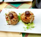 Stuffed mushroom with sausage and truffle oil