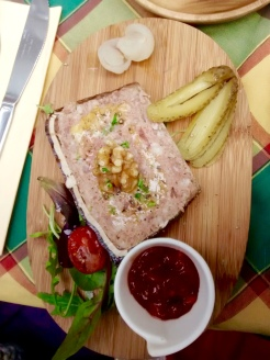 Rabbit terrine, tomato chutney, walnuts