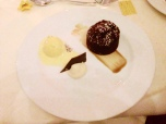 Sticky toffee pudding, banana ice cream with toffee sauce and a banana tuille