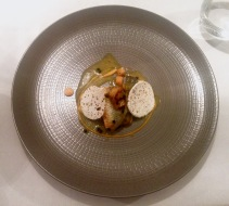 Pan-fried seabass, carrot, ginger and butternut squash, artichoke and smoked butter