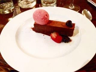 Chocolate delice, raspberry sorbet