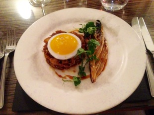Confit duck hash, fried duck egg, chicory and burnt orange dressing