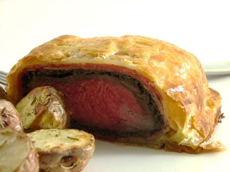 Venison wellington with haggis and mushroom duxelles