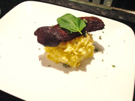 Merlot marinated kangaroo steaks with wasabi mash