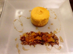 Baked pumpkin cheese cake, spiced granola