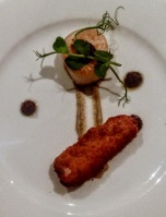 Seared scallop, aubergine puree, crispy belly pork and olives