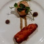 Seared scallop, aubergine puree, crispy belly pork and olives