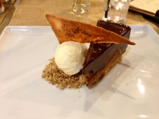 Halen Mon salted caramel chocolate torte and vanilla ice cream