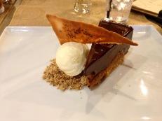 Halen Mon salted caramel chocolate torte and vanilla ice cream