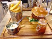 Barley and Rye - Panko breaded halloumi burger, toasted brioche bun, chipotle mayonnaise, chips, coleslaw, tomato chutney