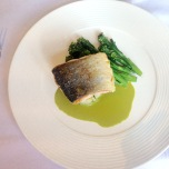 Pan fried fillet of salmon, broccoli, herb crushed potatoes, beurre blanc
